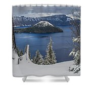 Wizard Island Through Trees Shower Curtain