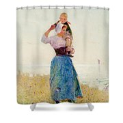 Woman And Child In A Meadow Shower Curtain