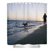 Woman And Dog Running On Beach, Nags Shower Curtain