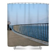 Woman And Her Dog On The Path Shower Curtain