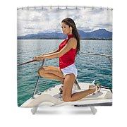 Woman At Kaneohe Bay Shower Curtain