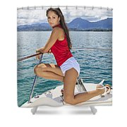 Woman Boating At Kaneohe Shower Curtain
