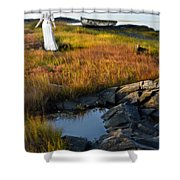 Woman By Boat On Grassy Shore Shower Curtain