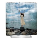 Woman By The Sea With Arms Reaching Up In Praise Shower Curtain