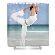 Woman Doing Yoga On The Beach Shower Curtain
