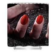 Woman Hand With Red Nail Polish Buried In Black Sand Shower Curtain