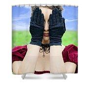 Woman Hiding Shower Curtain