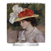 Woman In A Flowered Hat Shower Curtain