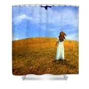 Woman In Field Looking Up At An Airplane Shower Curtain