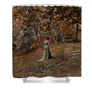 Woman In Green Gown  Shower Curtain