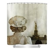 Woman In Hat Viewing The Statue Of Liberty  Shower Curtain by Jill Battaglia