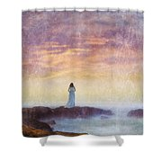 Woman In Vintage Dress At The Rocky Shore At Dawn Shower Curtain