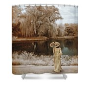Woman In Vintage Dress With Parason By Lake Shower Curtain
