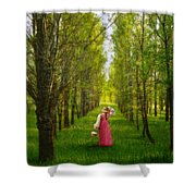 Woman In Vintage Pink Dress Walking Through Woods Shower Curtain