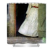 Woman In Vintage Victorian Era Dress In Doorway Shower Curtain