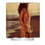 Woman In Wet Dress At The Beach Shower Curtain
