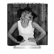 Woman In White  Bw Shower Curtain