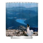 Woman In White Gown On Mountain Top Shower Curtain