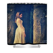 Woman In White In Doorway Shower Curtain
