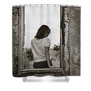 Woman In Window Shower Curtain