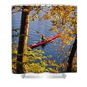 Woman Kayaking With Fall Foliage Shower Curtain