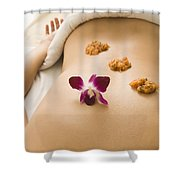 Woman Lying On Massage Table Receiving Shower Curtain