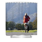 Woman On A Bicycle With Her Dog Shower Curtain