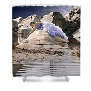 Woman On A Rock Shower Curtain