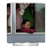 Woman On Bus Laos Shower Curtain