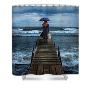 Woman On Dock In Storm Shower Curtain