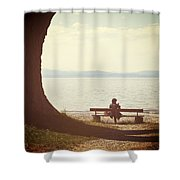Woman On The Shore Of A Lake Shower Curtain