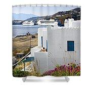 Woman On The Terrace - Mykonos Shower Curtain