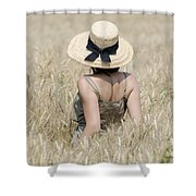 Woman On The Wheat Field Shower Curtain