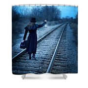 Woman On Tracks Night Shower Curtain