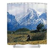 Woman Riding Horseback, Torres Del Shower Curtain