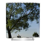 Woman Sitting At Picnic Bench Shower Curtain