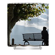 Woman Sitting On A Bench Shower Curtain