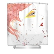 Woman Smile Watercolor Painting Shower Curtain