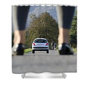Woman Standing On A Road Shower Curtain