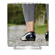 Woman Standing On A Stone Road Shower Curtain