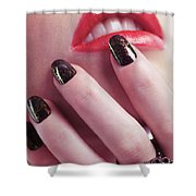 Woman Touching Lips With Her Hand Shower Curtain