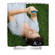 Woman Using Her Iphone Shower Curtain