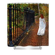 Woman Walking In Long White Gown Shower Curtain