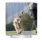 Woman Walking With Her Dog Shower Curtain