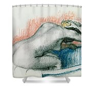 Woman Washing In The Bath Shower Curtain