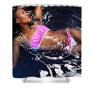 Woman Wearing Bikini Lying In Water Shower Curtain