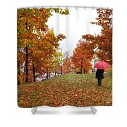 Woman With A Red Umbrella Shower Curtain