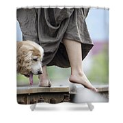 Woman With A Skirt And A Dog Shower Curtain