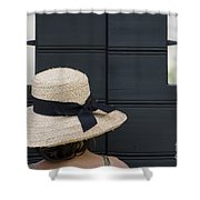 Woman With A Straw Hat Shower Curtain