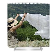 Woman With A White Sheet Shower Curtain